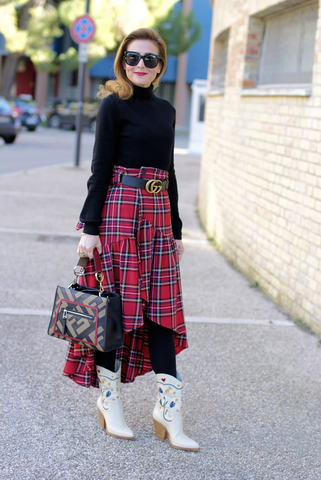 Plaid ruffled skirt and Fendi Runaway Logo bag on Fashion and Cookies fashion blog, fashion blogger style