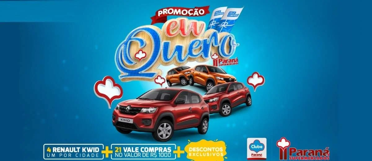 Cadastrar Promoção Paraná Supermercados 2020 Eu Quero 4 Carros e 21 Vales-Compras