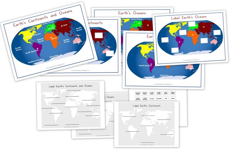 World Wide Wanderings Continents Oceans Printable