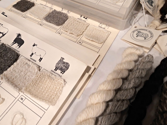 Knitted swatches from designers' toolkit - The Woolist talk - Theatr Clwyd Sept 2019
