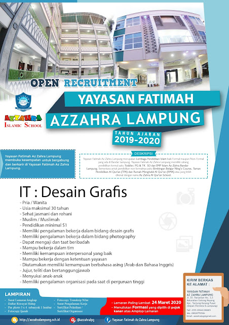 Open Recruitment IT-Design Grafis Yayasan Fatimah Azzahra Bandar Lampung