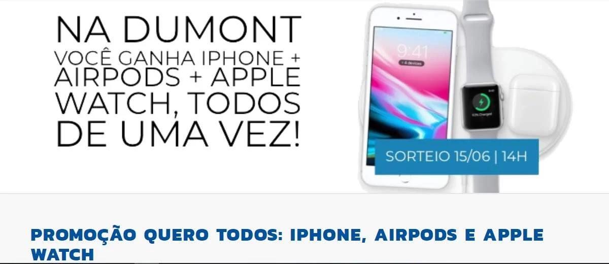 Promoção Quero Todos Dumont FM 2020 Ganhe iPhone + Airpods + Apple Watch