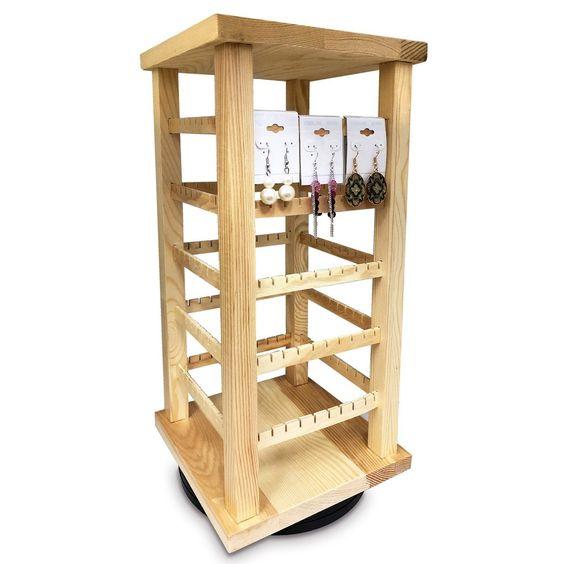 #WD3600 Wooden Rotating Earring Display Rack