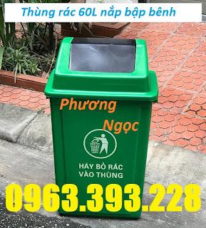 Thùng rác HDPE 60L, thùng rác nắp bập bênh, thùng rác 60 Lít nắp lật, thùng rác 60L ngoài trời