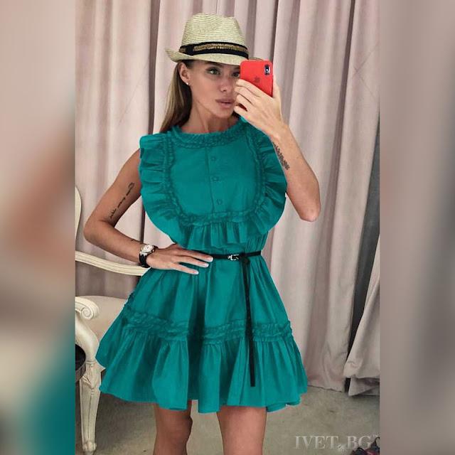 Αμάνικο κοντό πράσινο φόρεμα ANETA GREEN