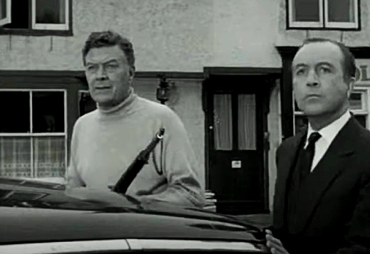 Willard Parker and Dennis Price in The Earth Dies Screaming, 1964