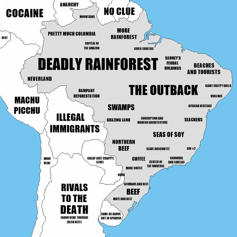 Brazil stereotype map