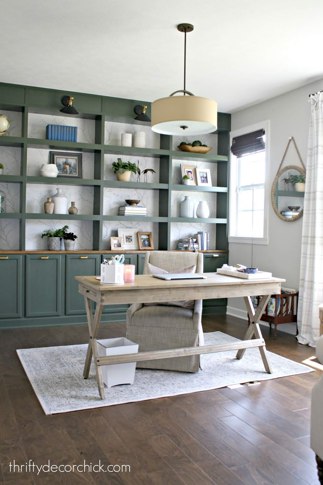DIY green bookcases in office