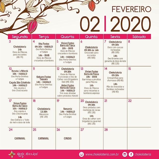 Aulas de Confeitaria Criativa - Fevereiro 2020