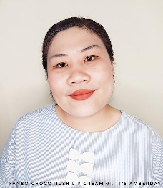 Review Fanbo Choco Rush Lip Cream 01. It's Amberday