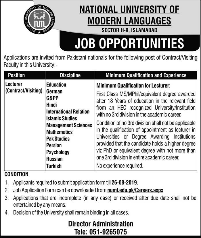 Advertisement for NUML Islamabad CAmpus Jobs