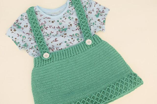5 - Crochet Imagen Falda con tirantes a crochet y ganchillo por Majovel Crochet paso a paso facil sencillo familia batera punto alto punto bajo doble