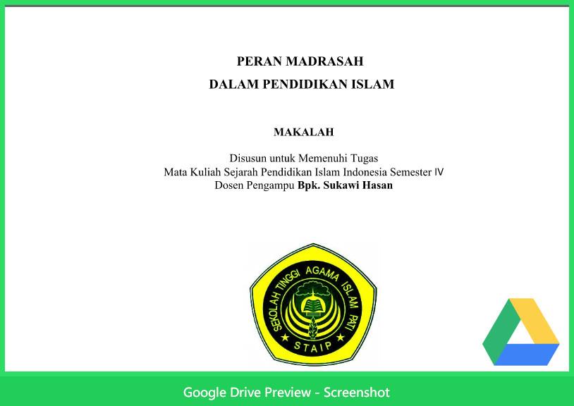 Contoh Makalah Agama Tentang Peran Madrasah Dalam Pendidikan Islam