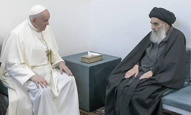El papa Francisco se reúne con el principal clérigo chií de Irak, el gran ayatolá Ali al-Sistani, en Najaf, Irak