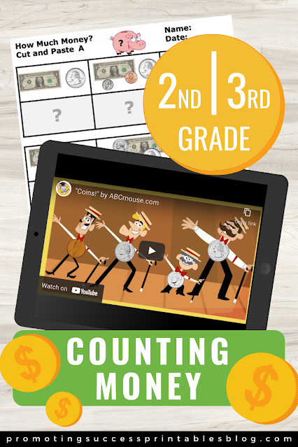 Counting Money Activities for 2nd and 3rd grade cut and paste worksheet and counting money video