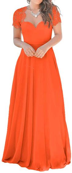 Orange Chiffon Dresses for Bridesmaid