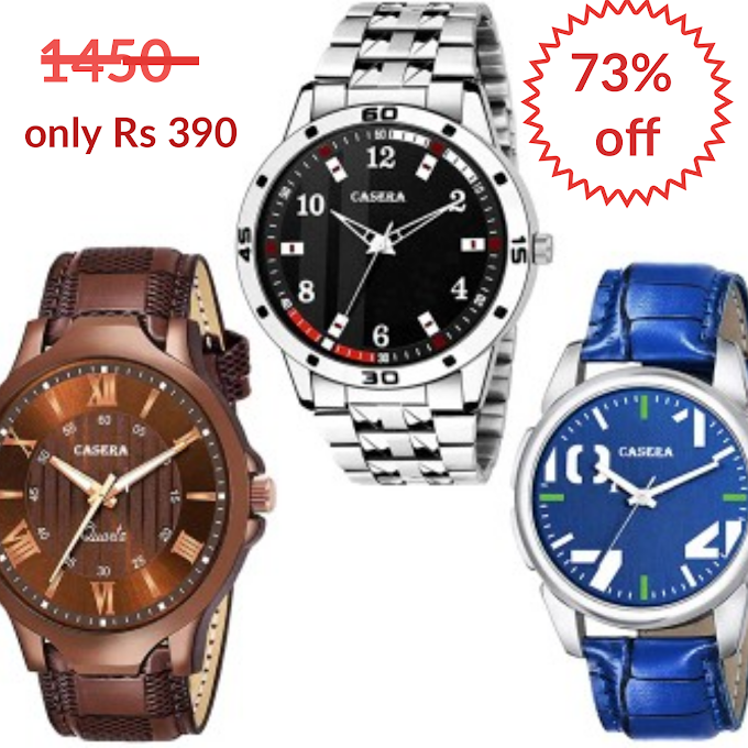 Casera Analog Multi Color Dial Pack Of 3 Wrist Watches For Boy And Men Watch in only  Rs 399