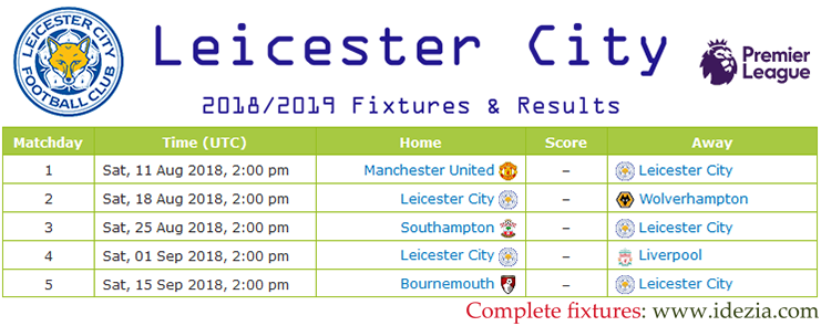 Download Full Fixtures PNG JPG Leicester City 2018-2019