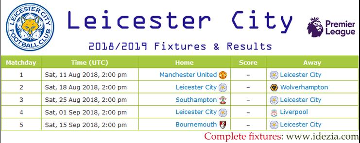 Baixar calendário completo PNG JPG Leicester City 2018-2019