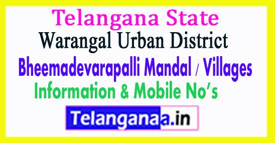 Bheemadevarapalli Mandal Villages in Warangal Urban District Telangana
