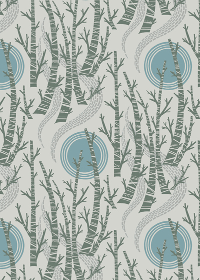 Print pattern wallpaperfabric angie lewin birch tree sun wallpaper and fabrics will be available online here in late summer 2015 sisterspd