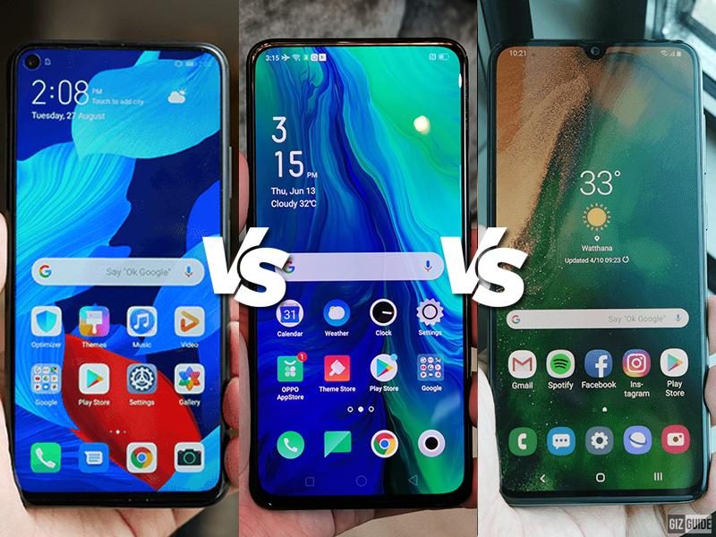 Huawei Nova 5T vs OPPO Reno vs Samsung Galaxy A70 Specs Comparison