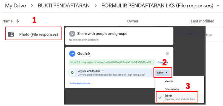mengatur share permission editing pada folder photo