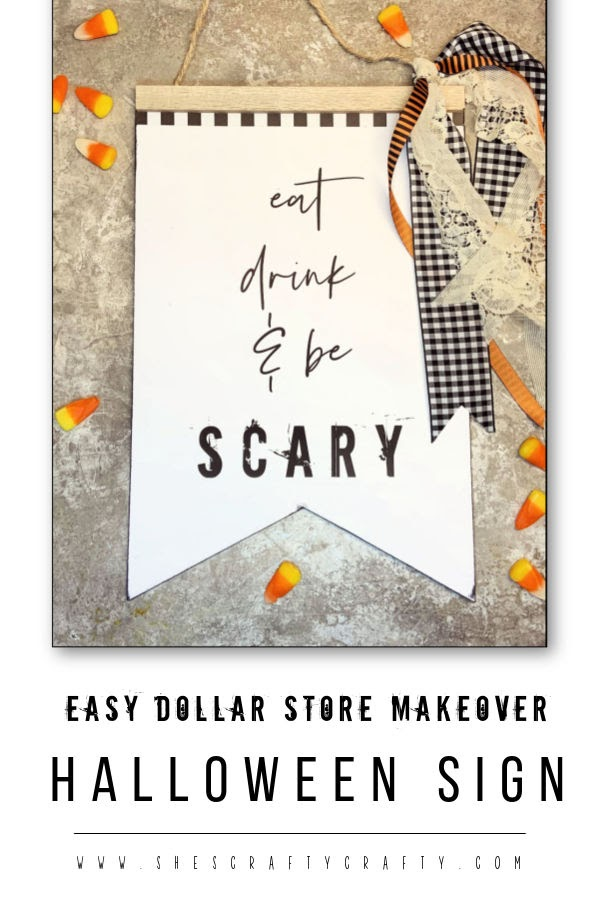Halloween Sign - dollar store sign makeover