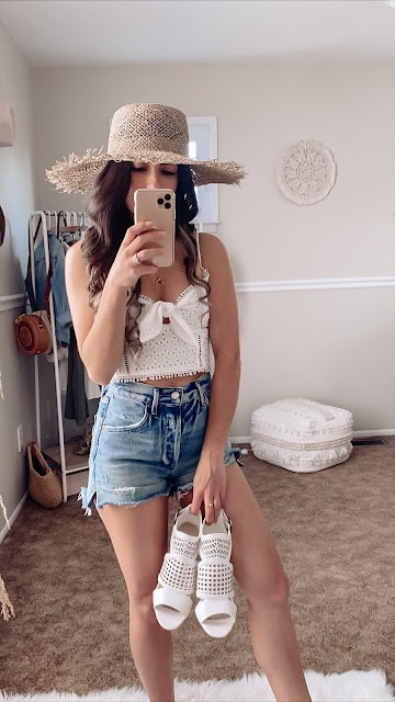 Summer outfits, distressed denim, lost + wander, Crop top, roxy, lack of color hat