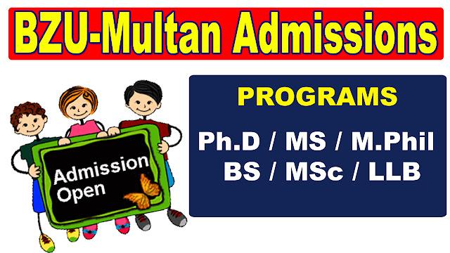 BZU-Multan BS/BA/MS/M.Phil/Ph.D admission 2019-20