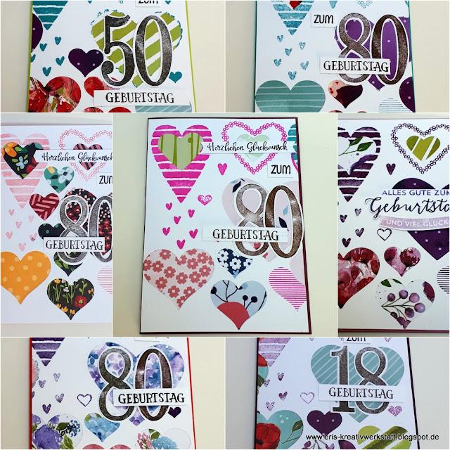 Herzige Karten mit Designerpapier hinterklebt zu runden Geburtstagen Stampin' Up! www.eris-kreativwerkstatt.blogspot.de