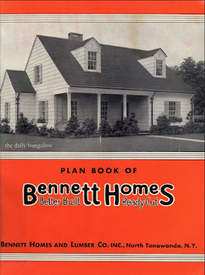 orange, black, and white image of cover of 1937 Bennett Homes catalog, on Daily Bungalow