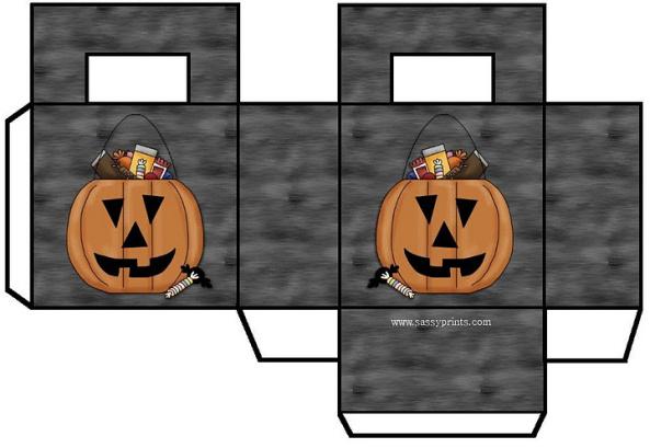 descarga gratis caja halloween forma  cuadrada con calabaza fondo gris