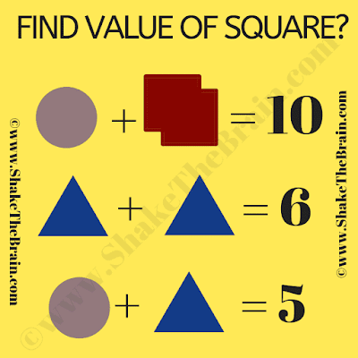 This is Simple Math Equations Riddle in which your challenge is to find the value of the square