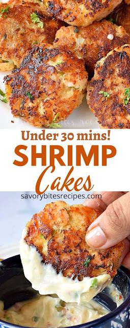 collage of pic with shrimp cakes arranged on a white plate and a hand holding shrimp cake dipped in lemon aioli