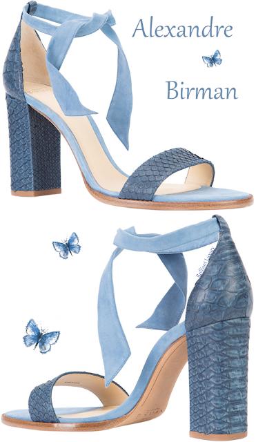 Alexandre Birman blue lace-up crocodile ankle sandal #brilliantluxury