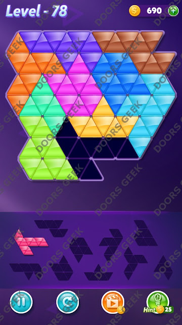 Block! Triangle Puzzle 10 Mania Level 78 Solution, Cheats, Walkthrough for Android, iPhone, iPad and iPod