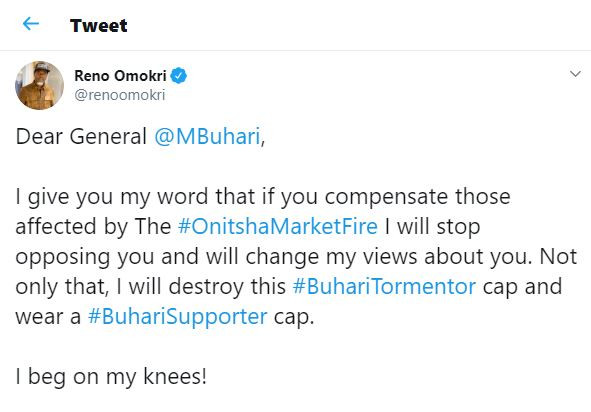 Dear President Buhari, if you compensate those affected by #OnitshaMarketFire I will stop opposing you - Reno Omokri