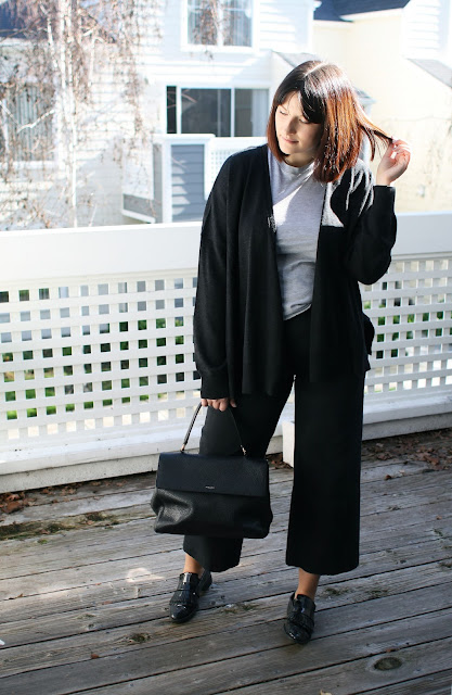 Everlane, OOTD, Black. AllSaints, Luxury knitwear, Merino wool, Postpartum, YSL Bag, Loafers