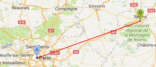 Mapa viagem de trem de Paris a Reims