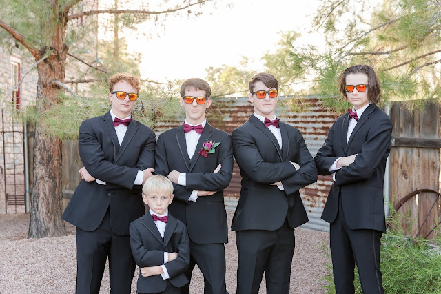 Shenandoah Mill in Gilbert AZ Wedding Photo of the groomsmen and ring bearer by Micah Carling Photography