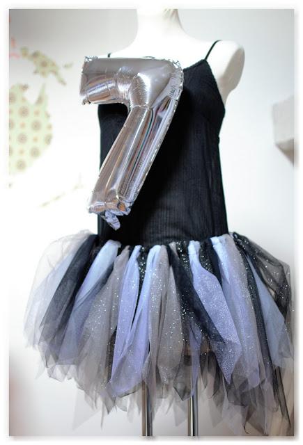 ballon argenté en forme de 7 et mannequin couture avec un tutu en tulle à paillettes