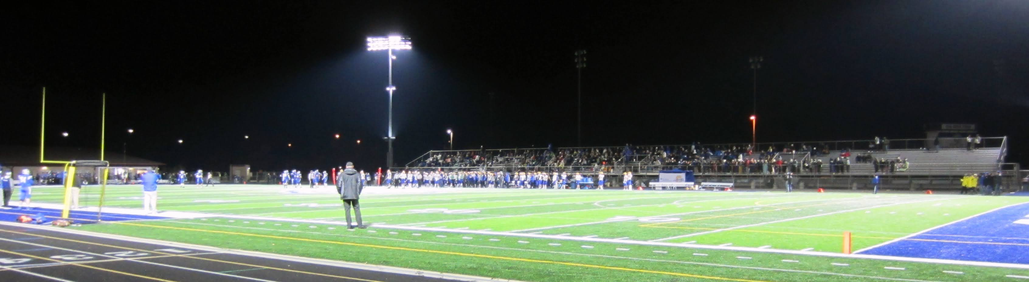 A view towards the away bleachers at Reynolds Royals Stadium, Fishers, IN