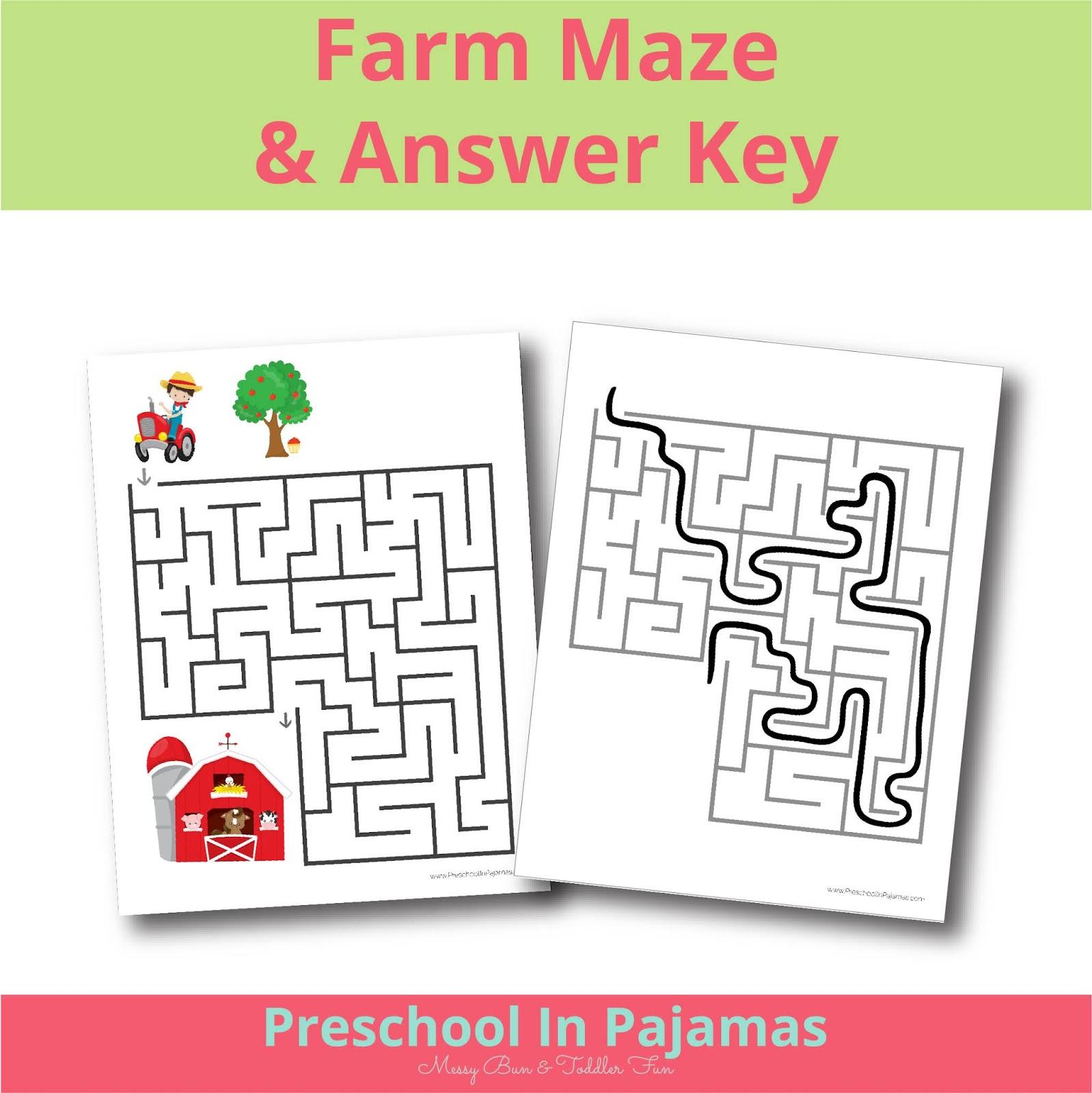 Free Farm Maze Printable Worksheet