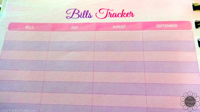 2016 Belle De Jour Power Planner: Bills Tracker Page Picture (Review at http://www.TheGracefulMist.com/)