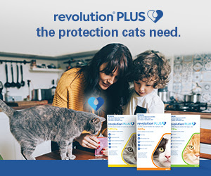 A picture of a family with their cat and Revolution Plus