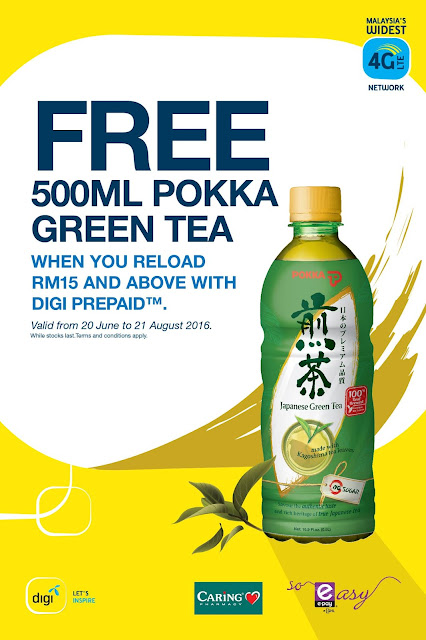 Digi Reload Caring Pharmacy Free Pokka Green Tea