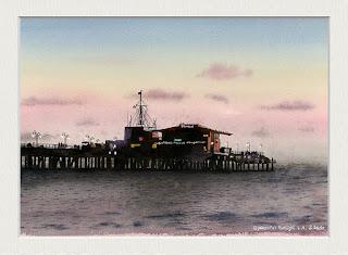 水彩画「静かな黄昏」