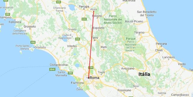 Mapa da viagem de Roma a Assis