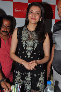 Kajal Aggarwal in lovely Black Sleeveless Anarlaki Dress in Hyderabad at Launch of Bahar Cafe at Madinaguda 013.JPG